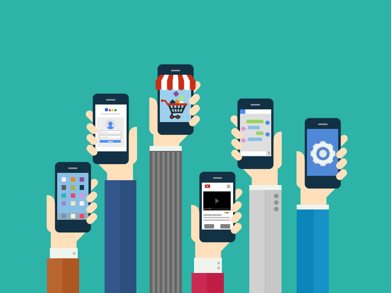 Hands with phones