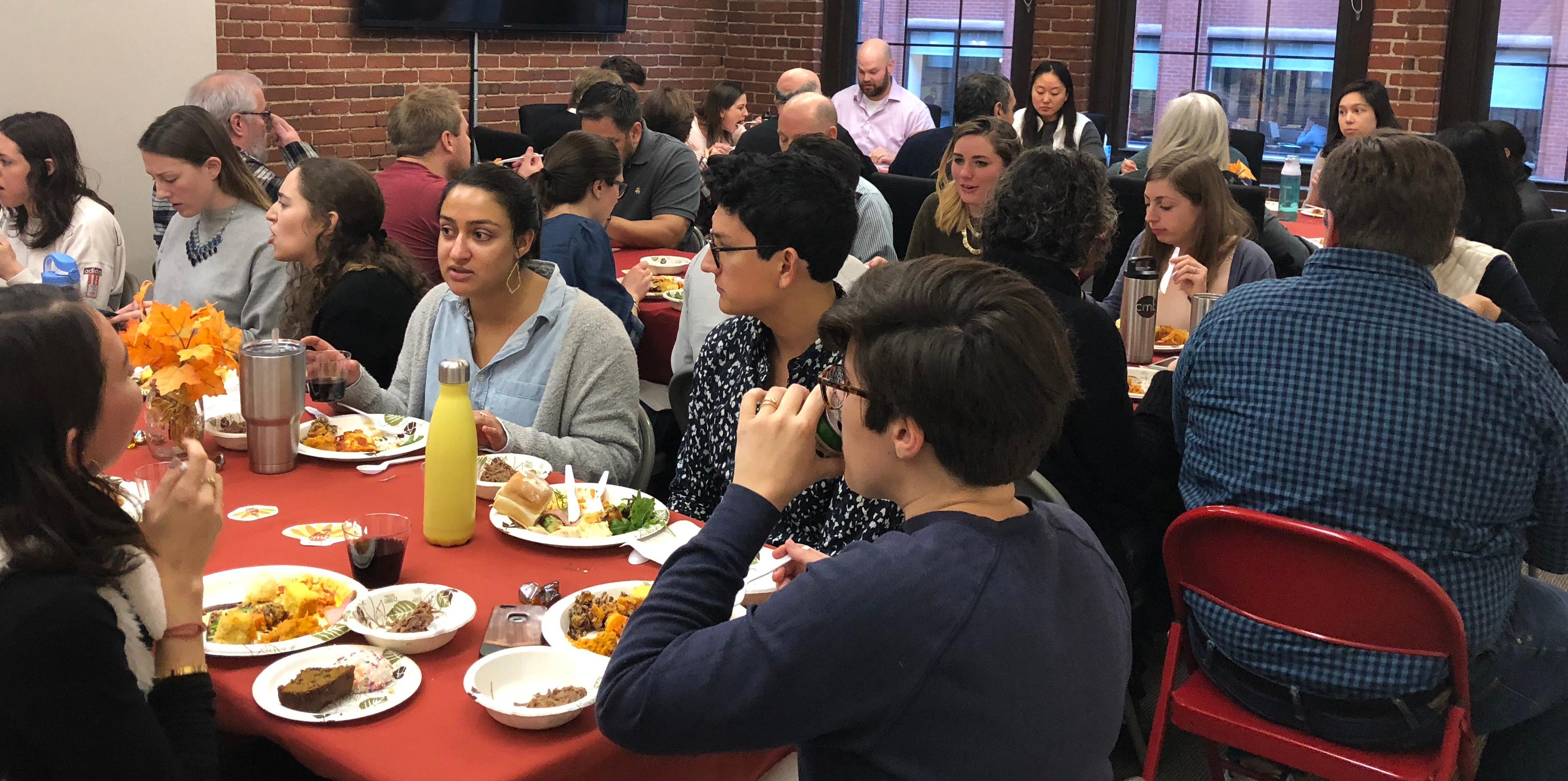 Group eating at Thanksgiving