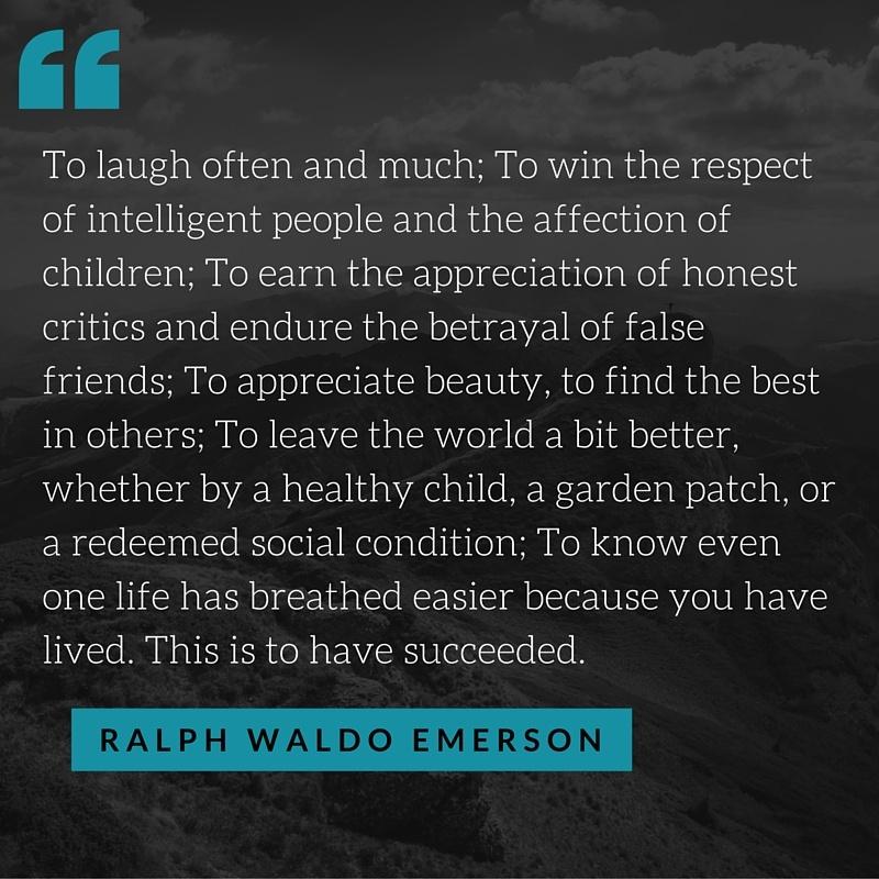 ralph waldo emerson success quote